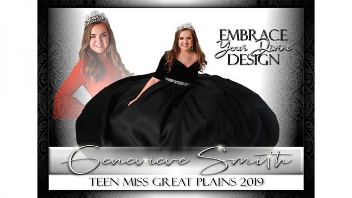 My name is Genevieve Smith. I am the Princess of America, Teen Miss Great Plains 2019. I am immensely passionate about Nebraska Leadership Seminar (NLS), music, and makeup, and I am fearless when it comes to being my authentic self. This is my first title and my experience has been truly rewarding. My platform is Your Divine Design. I teach teens the value true self-love from within beginning with loving the person they are and every individual thing about themselves.